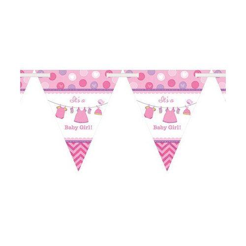 Shower With Love  - pink zászlófüzér babaszületésre