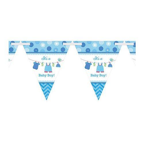 Shower With Love  - kék zászlófüzér babaszületésre