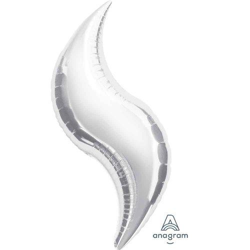 Ezüst hullámos levél fólia léggömb - 69cm