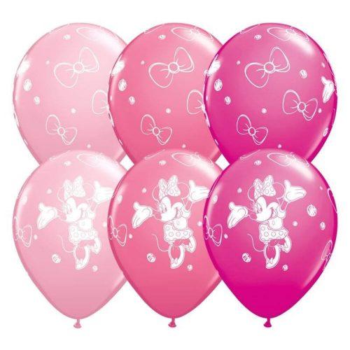 Minnie Mouse mintájú latex lufi héliummal
