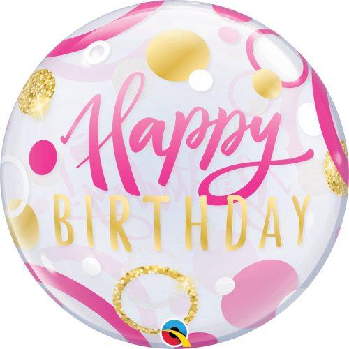 Happy Birthday feliratú rózsaszín Bubble lufi