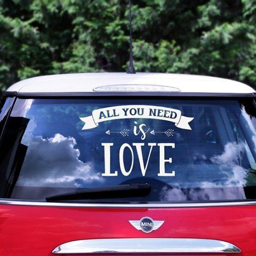 ALL YOU NEED IS LOVE matrica menyasszonyi autóra