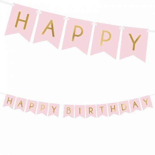 HAPPY BIRTHDAY - zászlófüzér pink