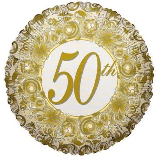 50. arany mintás fólia lufi