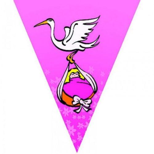 Gólya hozza  - pink zászlófüzér babaszületésre