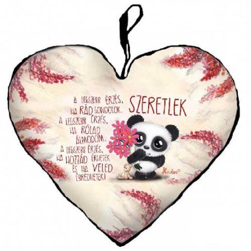SZERETLEK... panda virággal szerelmes párna 25cm