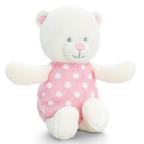 Bébi maci plüss csörgő rózsaszín - 13cm