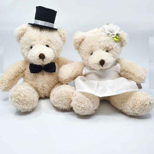 Maci plüssök esküvőre házassági évfordulóra vintage stílusban - 25cm