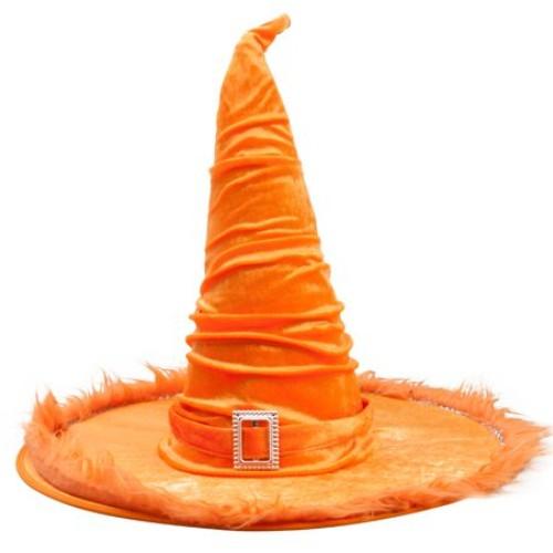 Boszorkány kalap narancssárga bársony